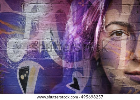 girl's face with graffiti.