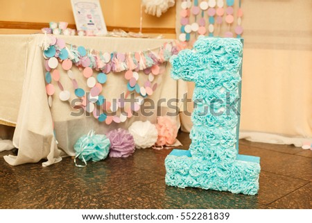 Girls First Birthday Decorations Party Little Stock Photo Image