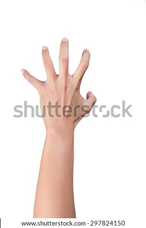 Girl's hand gestures showing person view isolated on white background, beautiful. - stock photo