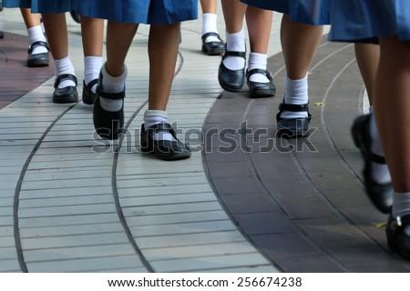 girl's steps. - stock photo