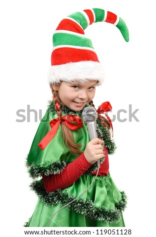 Girl - Santa's elf with a microphone. Isolated on a white - stock photo