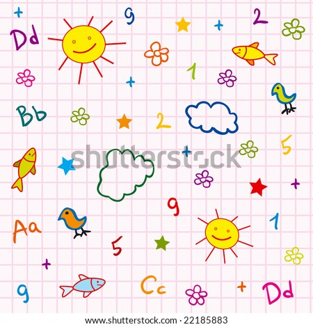 girl school seamless with abc drawing sun fish flower and cloud