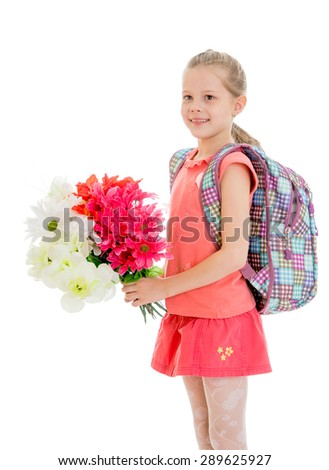Girl schoolgirl with a bouquet of flowers - isolated on white background