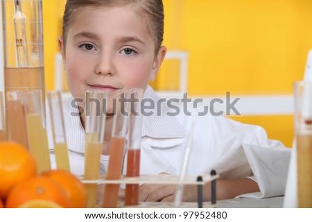 Girl scientist - stock photo