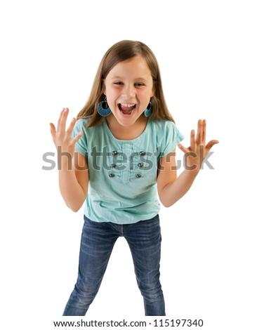 girl screaming - stock photo