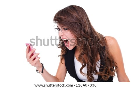 Girl screaming to mobile phone, white background - stock photo