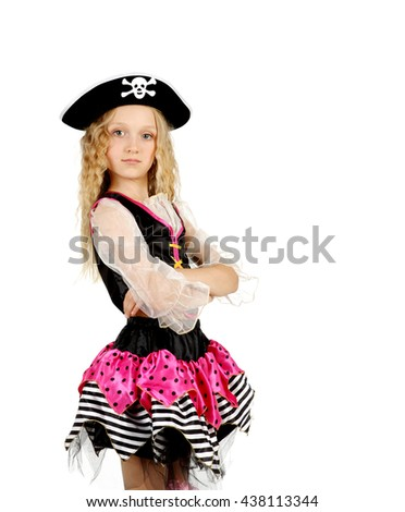 Girl seven years old wearing a pirate costume Halloween; carnival - stock photo
