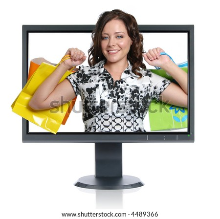 Girl shopper geting out of the LCD monitor isolated over a white background - stock photo