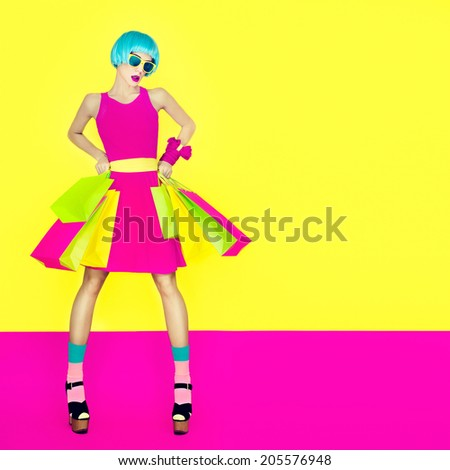 Girl shopping. Summer sale - stock photo