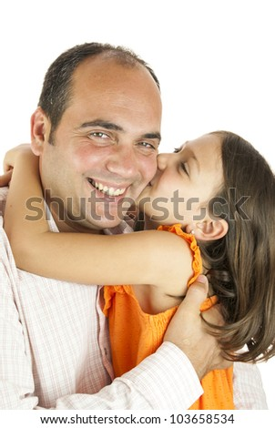 girl showing her love to her father - stock photo