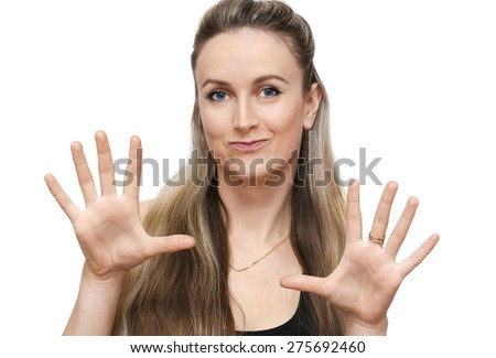Girl showing the palms - stock photo