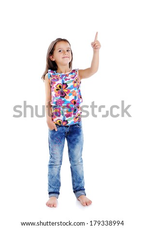 girl showing up with finger - stock photo