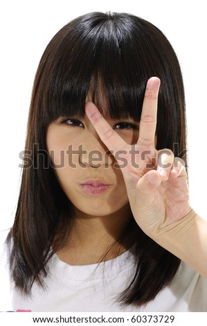 girl showing victory sign-close up