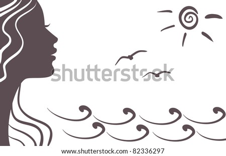 Girl silhouette on vacation - stock photo