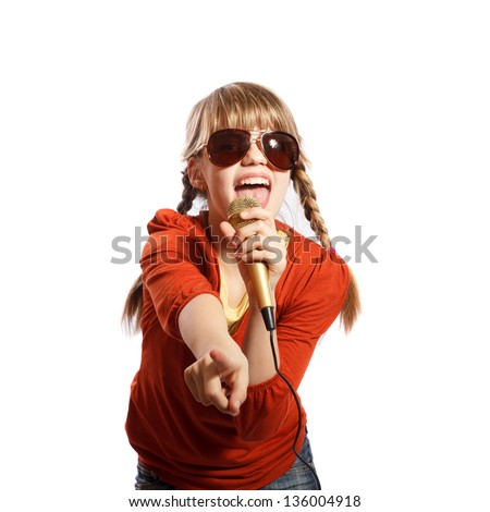 Girl singing into a microphone on a white background - stock photo