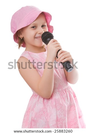 Girl sings a song in a microphone isolated on a white background