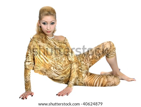 girl sitting in a golden suit - stock photo