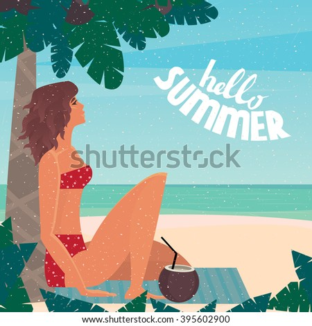 Girl sitting on a beach mat under a palm tree by the sea leaned back on a palm tree - Vacation or holidays concept. Raster version of illustration - stock photo