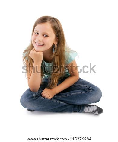 girl sitting on floor - stock photo