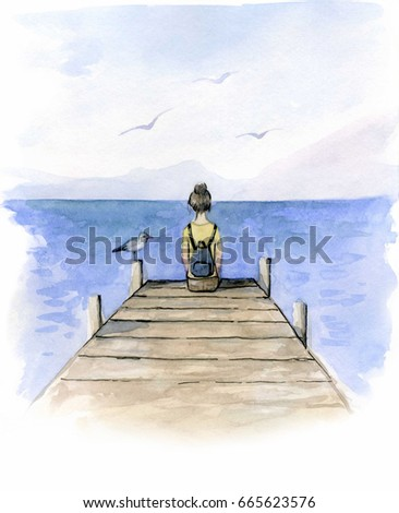 Girl sitting on dock watercolor stock illustration 665623576 girl sitting on the dock watercolor freerunsca Gallery