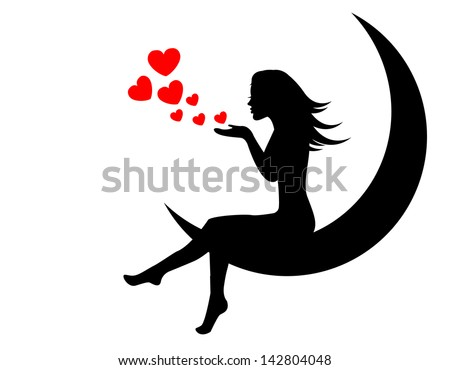 girl sitting on the moon and blows with hands hearts - stock photo