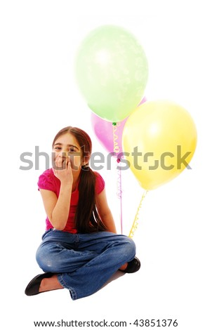 Girl sitting with balloons isolated on white