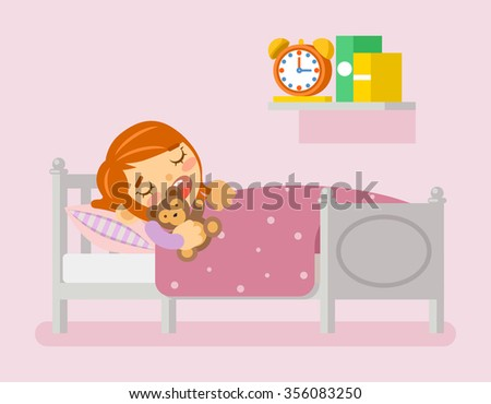 Girl sleeping in the bed - stock photo