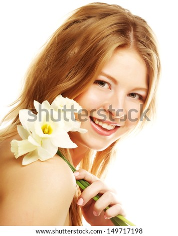girl smiling and with flower narcissus