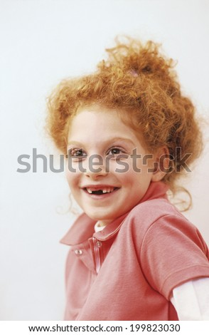 Girl smiling, portrait - stock photo