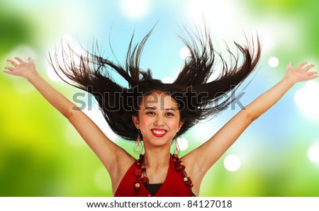 Girl Smiling With Hands And Hair In The Air, Countryside Background - stock photo