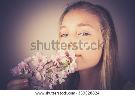 Girl sniff cherry blossoms, Noise grain effect, vintage, old fashion