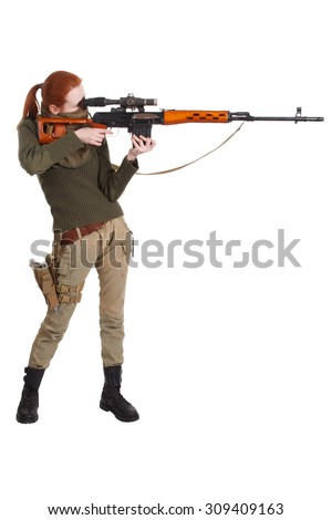 girl  sniper with SVD sniper rifle isolated on white background