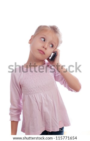 Girl speaks on a mobile - stock photo