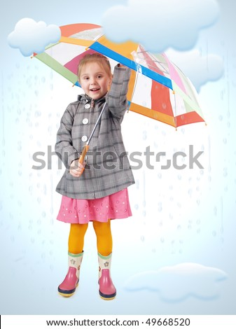 Girl standing in cartoon rain and puddles.   Photo and drawing  elements combined
