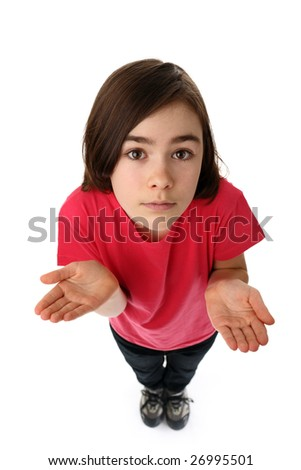 Girl standing isolated on white - stock photo