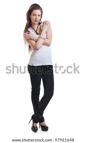 Girl standing on a white background - stock photo