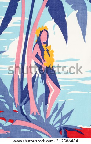 Girl standing under a tropical palm tree as a pattern on fabric. Hawaiian woman with wreath of yellow flowers  under a palm tree with blue leaves print as background. - stock photo