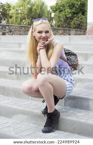 girl student on the steps