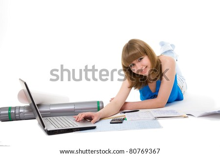 girl-student prepares for employment . white background, it is isolated