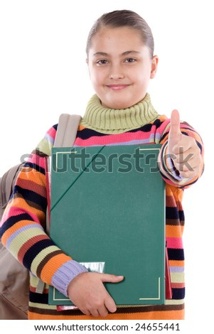Girl student with folder and backpack on a white background