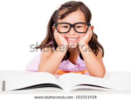 Girl studying and reading a book - isolated over a white background - stock photo