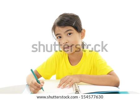 Girl studying at the desk