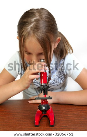 Girl studying something with microscope, white background