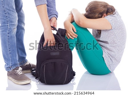Girl suffering bullying by a boy, isolated on white background - stock photo