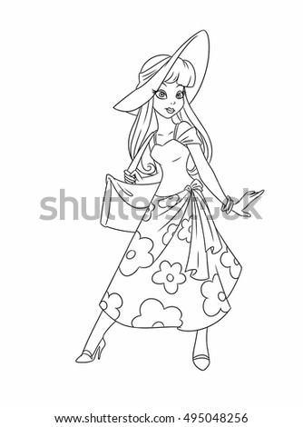Girl Summer Hat Coloring Pages Cartoon Illustration Isolated Image