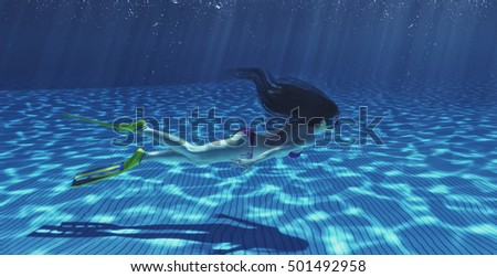 Girl swimming underwater in a tropical sea. This is a 3d render illustration