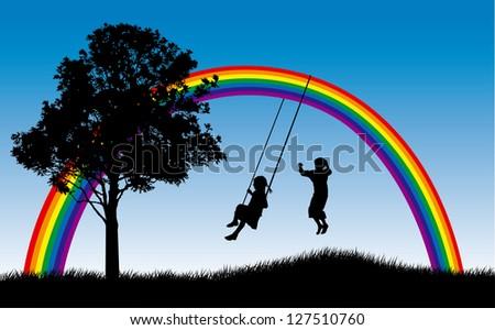 Girl swinging and boy jumping under rainbow - stock photo