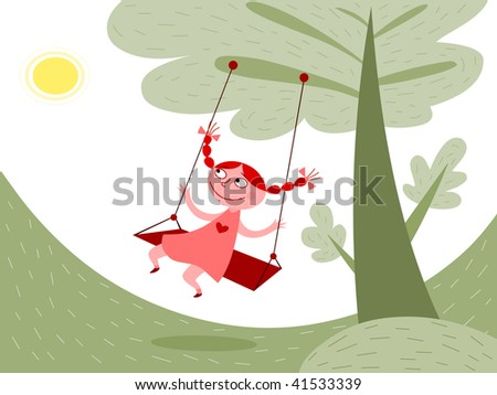 Girl swinging - raster - stock photo