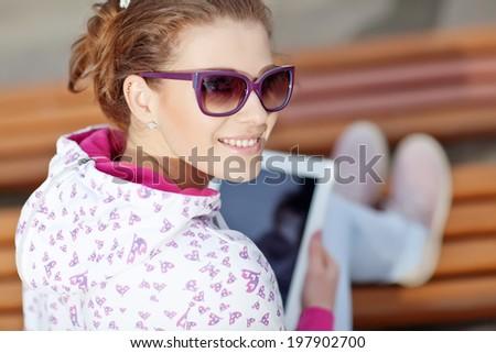 girl tablet - stock photo