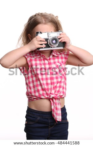 Girl taking photo. Close up. White background